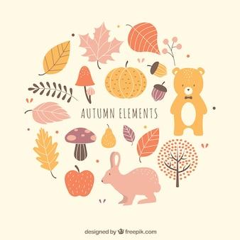 Pacote encantador de elementos de outono divertidos
