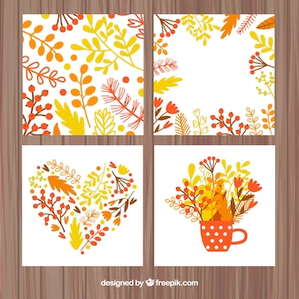 Pacote floral de cartões de outono