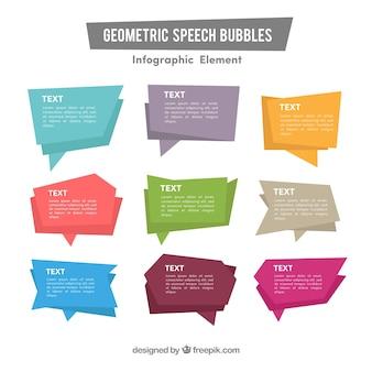 Pacote, geométrico, discurso, bolhas