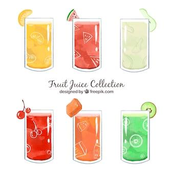 Pacote, gostoso, fruta, sucos, pintado, watercolor