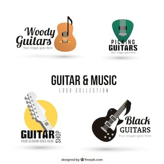 Pacote, guitarra, logotipos, realístico, desenho