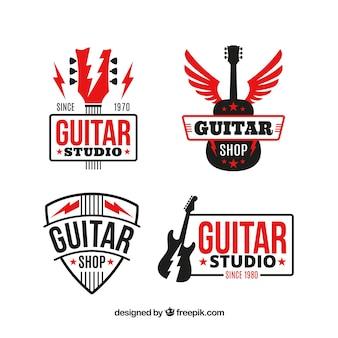 Pacote, guitarra, logotipos, vermelho, elementos