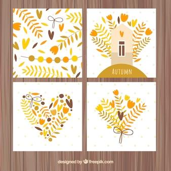 Pacote moderno de adoráveis cartões de outono
