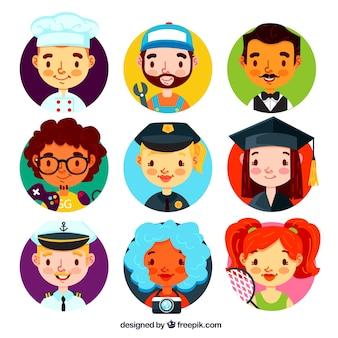 Pacote moderno de avatares com estilo bonito