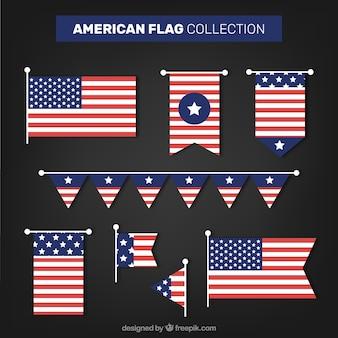 Pacote moderno de bandeiras americanas
