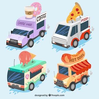 Pacote moderno de caminhões de alimentos isométricos