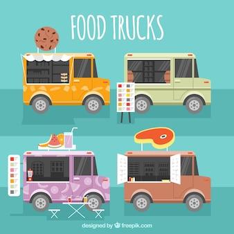 Pacote moderno de caminhões de comida lisa