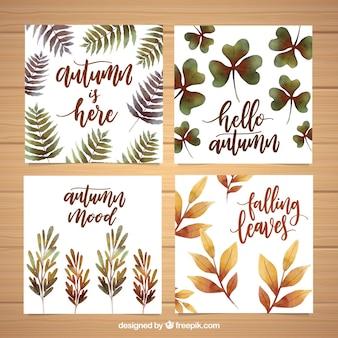 Pacote moderno de cartões de outono de aquarela