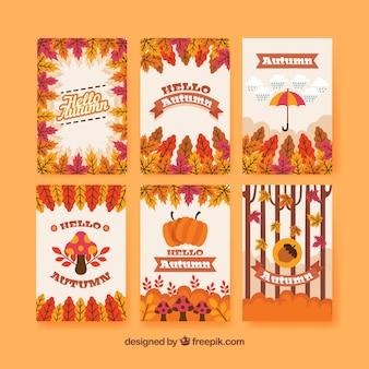Pacote moderno de cartões de outono divertidos