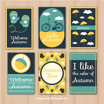 Pacote moderno de cartões de outono