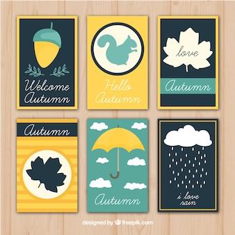 Pacote moderno de cartões frescos do outono