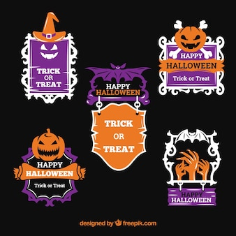 Pacote moderno de etiquetas originais de Halloween