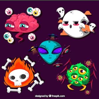 Pacote moderno de Halloween com personagens engraçados