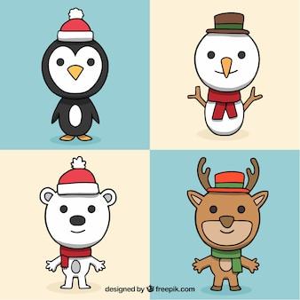 Pacote moderno de personagens de Natal