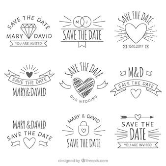 Pacote original de etiquetas de casamento desenhadas à mão