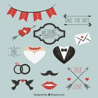 Pacote plano de enfeites modernos de casamento
