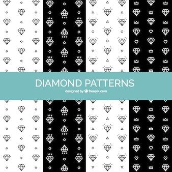 Pacote, pretas, branca, diamante, padrões
