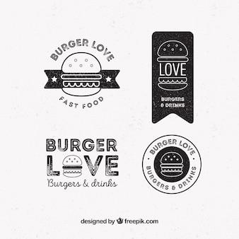 Pacote, quatro, hamburguer, logotipos, retro, estilo