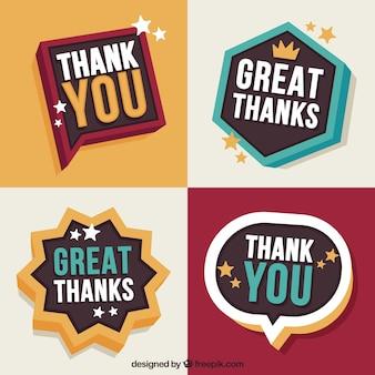 Pacote retro de etiquetas de agradecimento
