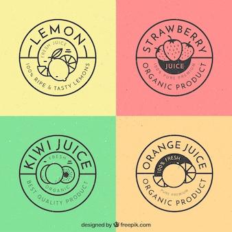Pacote retro de quatro etiquetas redondas da fruta