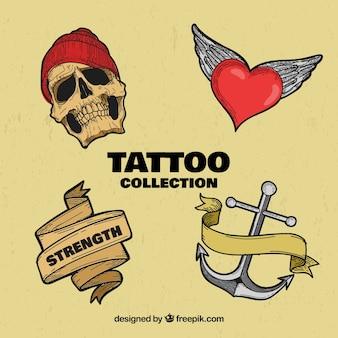 Pacote retro de tatuagens desenhadas a mão