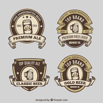 Pacote, retro, mão, desenhado, cerveja, etiquetas
