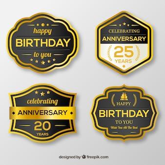 Pacote retro para adesivos de aniversário