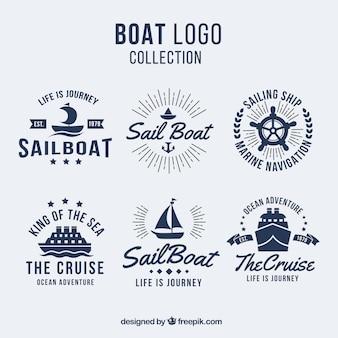 Pacote, seis, barco, logotipos, liso, desenho