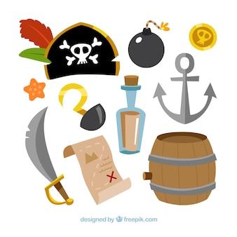 Pacote, tradicional, pirata, elementos
