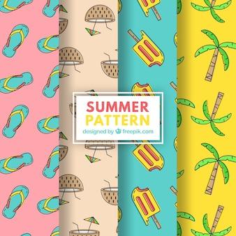 Pacote, verão, padrões, variedade, elementos
