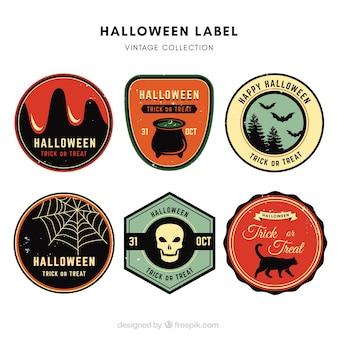 Pacote vintage de etiquetas de Halloween