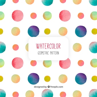 Padrão com círculos de cores aquarela