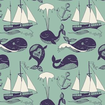 Padrão com motivos marinhos. Iates, baleias engraçadas, viagem ensolarada despreocupada.