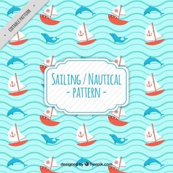Padrão com o barco e golfinhos