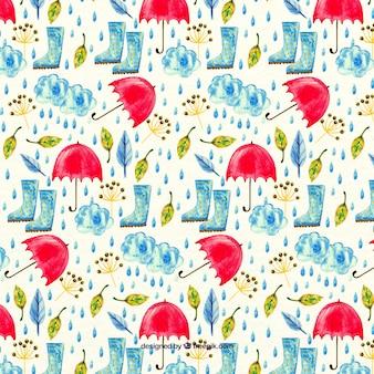 Padrão da aguarela com guarda-chuvas e botas de chuva
