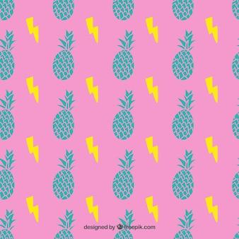 Padrão de abacaxis no estilo colorido