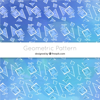 Padrão de aquarela com formas geométricas