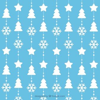 Padrão de árvores de Natal e flocos de neve