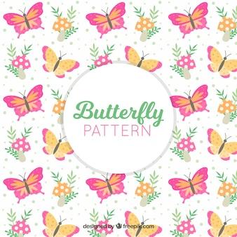 Padrão de borboleta com flores