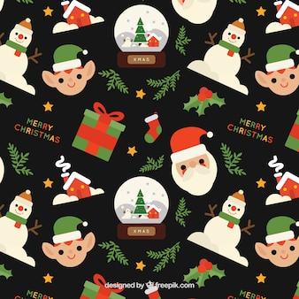 Padrão de caracteres e presentes do Natal