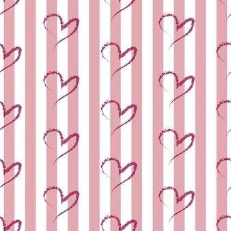 Padrão de coração desenhado à mão sem costura no fundo da listra rosa