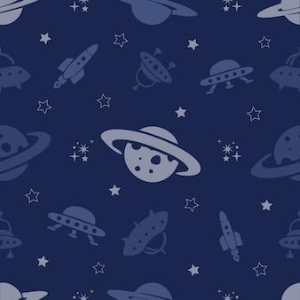 Padrão de espaço sem costura de planetas, foguetes e estrelas
