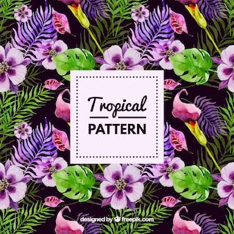 Padrão de flores de aguarela tropical