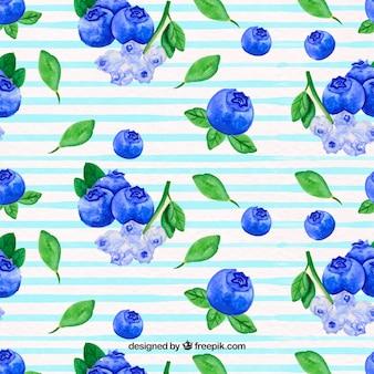 Padrão de flores e frutos de aquarela