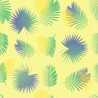 Padrão de folha de palmeira transparente colorido em fundo amarelo