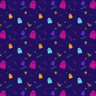 Padrão de Halloween com fantasmas e formas geométricas. Padrão Dinâmico de Halloween