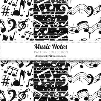 Padrão de notas de música em preto e branco