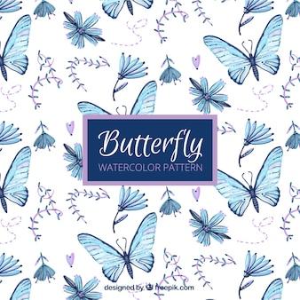 Padrão de pintados à mão borboletas e flores