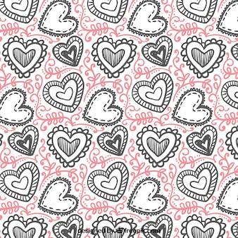 Padrão de Valentim desenhado mão de corações com desenhos diferentes
