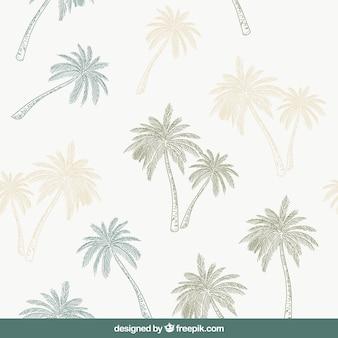Padrão decorativo com palmeiras desenhadas à mão